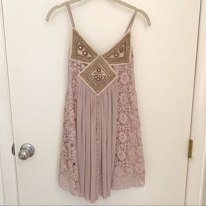 Free People Tunic Tank with Crochet Panels